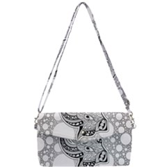 Elegant Mandala Elephant In Black And Wihte Removable Strap Clutch Bag