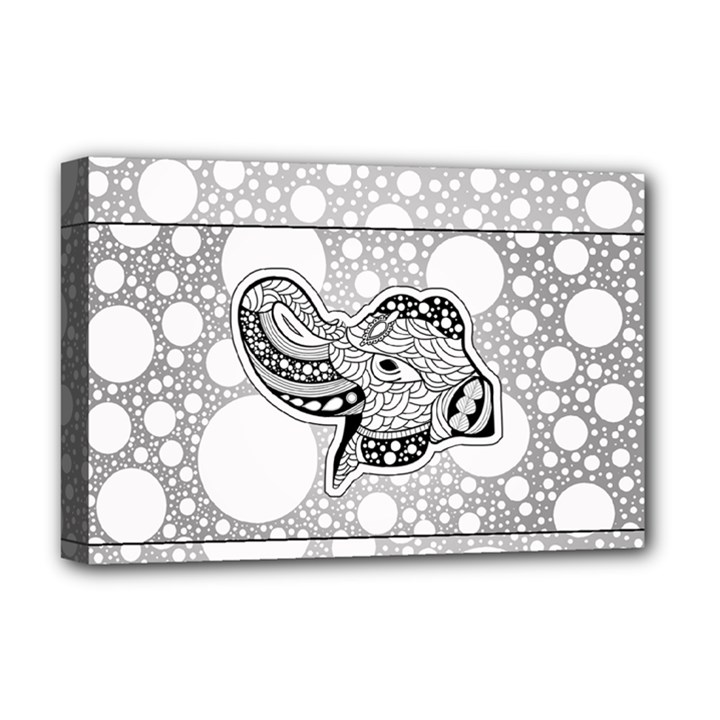 Elegant Mandala Elephant In Black And Wihte Deluxe Canvas 18  x 12  (Stretched)