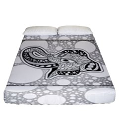 Elegant Mandala Elephant In Black And Wihte Fitted Sheet (king Size)