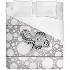 Elegant Mandala Elephant In Black And Wihte Duvet Cover (california King Size)