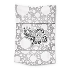 Elegant Mandala Elephant In Black And Wihte Small Tapestry