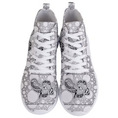Elegant Mandala Elephant In Black And Wihte Men s Lightweight High Top Sneakers