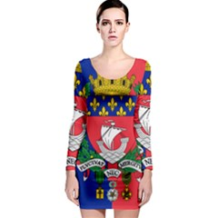 Flag Of Paris  Long Sleeve Bodycon Dress by abbeyz71