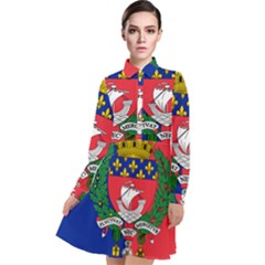 Flag Of Paris  Long Sleeve Chiffon Shirt Dress by abbeyz71