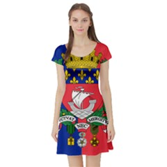 Flag Of Paris  Short Sleeve Skater Dress by abbeyz71