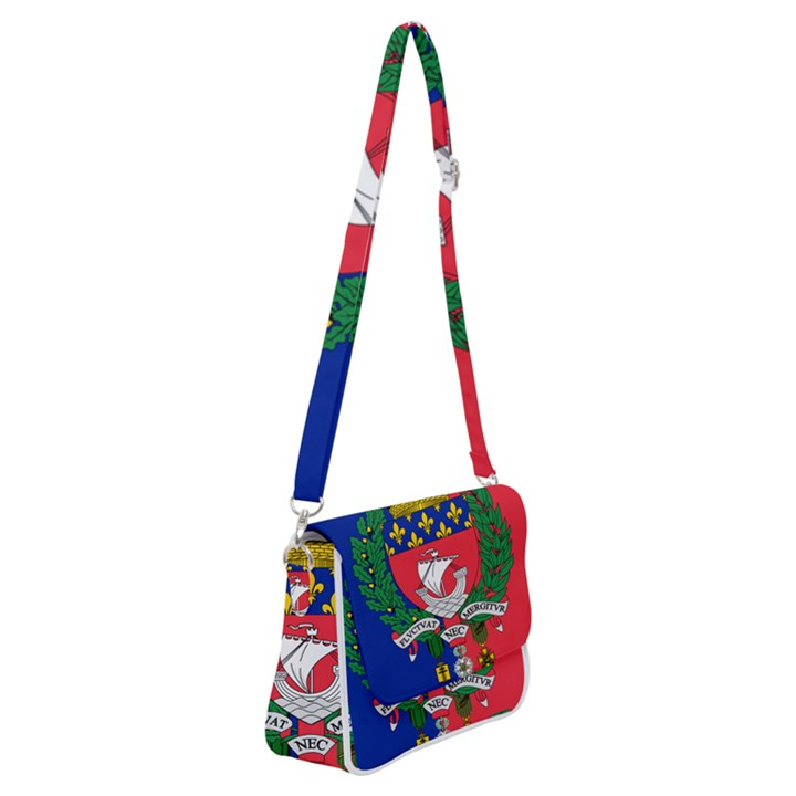 Flag of Paris  Shoulder Bag with Back Zipper