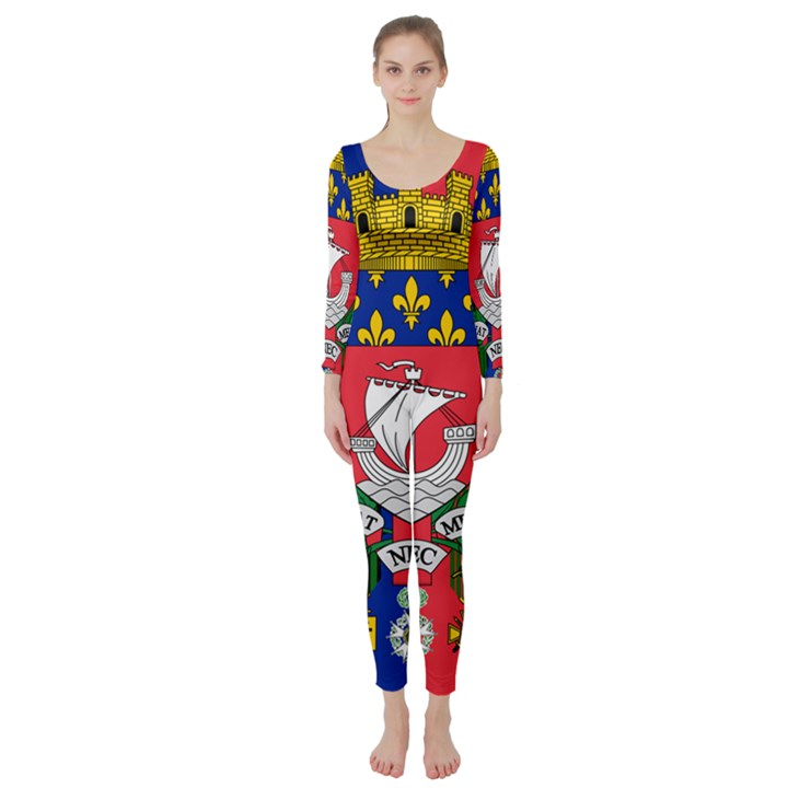 Flag of Paris  Long Sleeve Catsuit