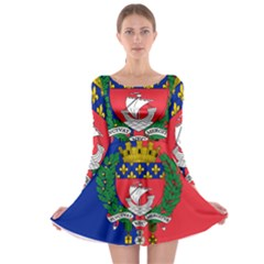 Flag Of Paris  Long Sleeve Skater Dress by abbeyz71