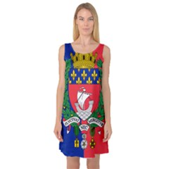 Flag Of Paris  Sleeveless Satin Nightdress