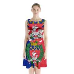 Flag Of Paris  Sleeveless Waist Tie Chiffon Dress