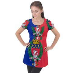 Flag of Paris  Puff Sleeve Tunic Top