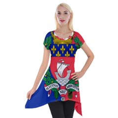 Flag of Paris  Short Sleeve Side Drop Tunic