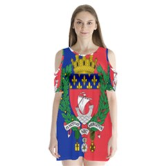 Flag Of Paris  Shoulder Cutout Velvet One Piece