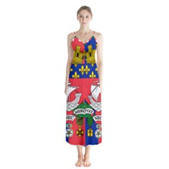 Flag Of Paris  Button Up Chiffon Maxi Dress