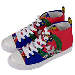 Flag of Paris  Women s Mid-Top Canvas Sneakers