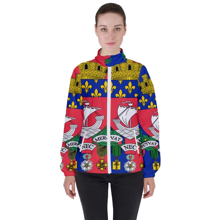 Flag of Paris  Women s High Neck Windbreaker