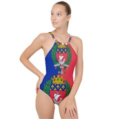 Flag of Paris  High Neck One Piece Swimsuit