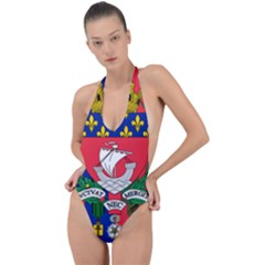 Flag of Paris  Backless Halter One Piece Swimsuit