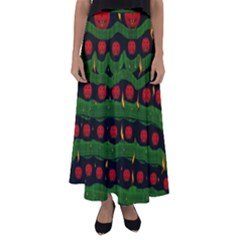 Pumkin Time Maybe Halloween Flared Maxi Skirt by pepitasart
