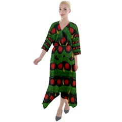 Pumkin Time Maybe Halloween Quarter Sleeve Wrap Front Maxi Dress by pepitasart