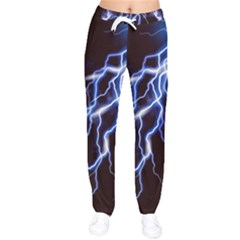 Blue Thunder Colorful Lightning Graphic Women Velvet Drawstring Pants