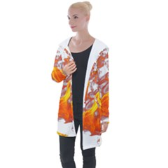 Can Walk On Volcano Fire, White Background Longline Hooded Cardigan