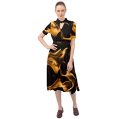 Can Walk On Volcano Fire, Black Background Keyhole Neckline Chiffon Dress by picsaspassion