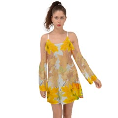Autumn Maple Leaves, Floral Art Kimono Sleeves Boho Dress