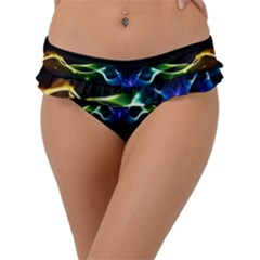 Colorful Neon Art Light Rays, Rainbow Colors Frill Bikini Bottom