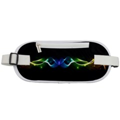 Colorful Neon Art Light Rays, Rainbow Colors Rounded Waist Pouch