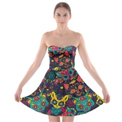 Colorful Mexican Calavera Cat Strapless Bra Top Dress