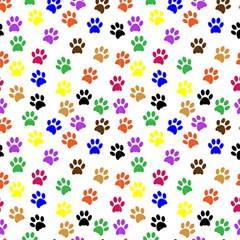 Colorful Pawprints Fabric by TimelessDesigns