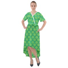 Pattern Texture Geometric Green Front Wrap High Low Dress