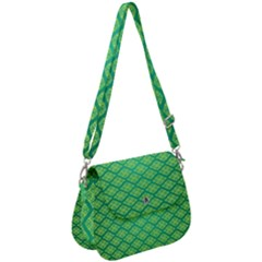 Pattern Texture Geometric Green Saddle Handbag