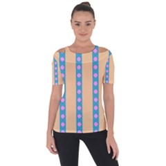 Pattern Background Shoulder Cut Out Short Sleeve Top