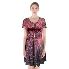 Abstract Background Wallpaper Short Sleeve V Neck Flare Dress