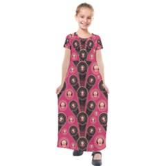Background Abstract Pattern Kids  Short Sleeve Maxi Dress
