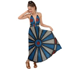 Darts Throw Backless Maxi Beach Dress