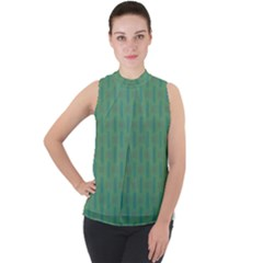 Pattern Background Blure Mock Neck Chiffon Sleeveless Top