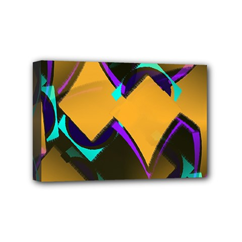 Geometric Gradient Psychedelic Mini Canvas 6  X 4  (stretched)