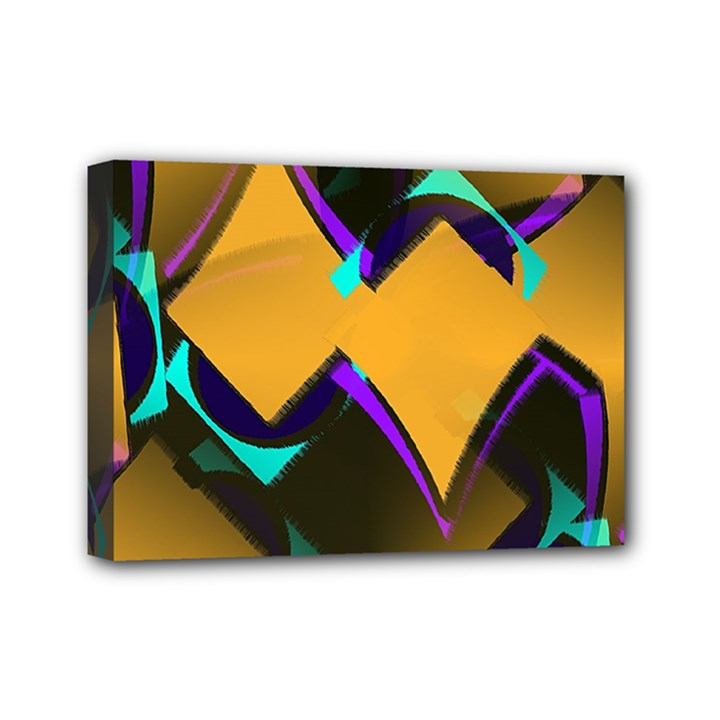 Geometric Gradient Psychedelic Mini Canvas 7  x 5  (Stretched)