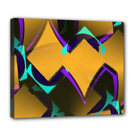 Geometric Gradient Psychedelic Deluxe Canvas 24  X 20  (stretched)