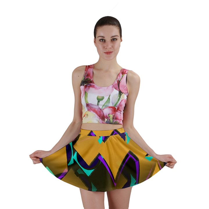 Geometric Gradient Psychedelic Mini Skirt