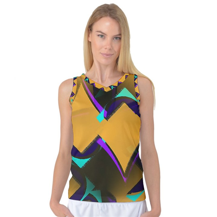 Geometric Gradient Psychedelic Women s Basketball Tank Top