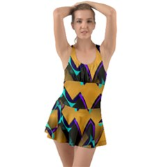 Geometric Gradient Psychedelic Ruffle Top Dress Swimsuit
