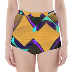 Geometric Gradient Psychedelic High Waisted Bikini Bottoms