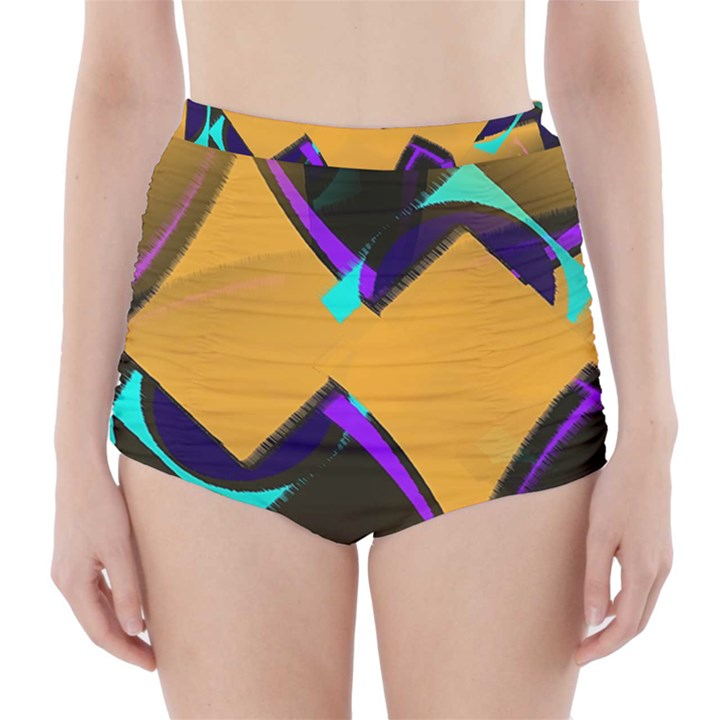 Geometric Gradient Psychedelic High-Waisted Bikini Bottoms
