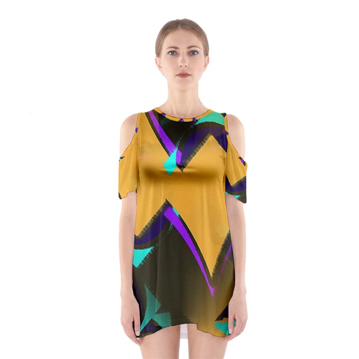 Geometric Gradient Psychedelic Shoulder Cutout One Piece Dress
