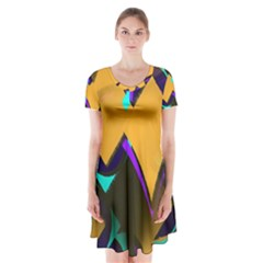 Geometric Gradient Psychedelic Short Sleeve V-neck Flare Dress