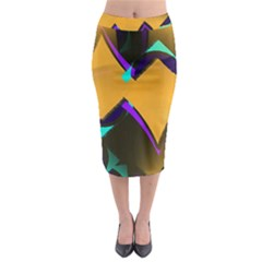 Geometric Gradient Psychedelic Midi Pencil Skirt